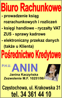 ANIN, biuro rachunkowe, Częstochowa, Krakowska 31